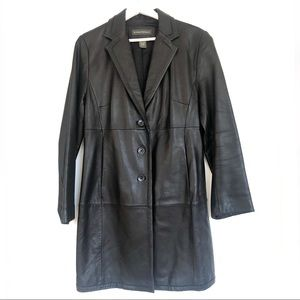 Vintage 90 BR Black Leather Mid Length Trench Coat